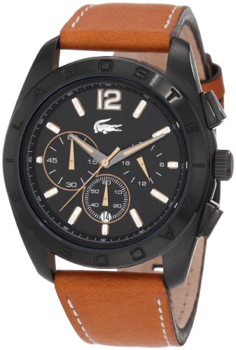 Lacoste Panama Black Dial Chronograph Tan Leather Mens Watch 2010607