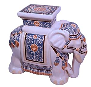 """Asian Elephant Garden Stool - Beautifully hand crafted Chinese ceramic can be used outdoors or indoors - Elephants wisdom and power - 18"""" H."""