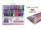Reaeon 72 Coloring Gel Pens Set - 36 Colored Pens with Grips & 36 Gel Ink Refills for Coloring Books,Art & School including Glitter, Neon and Pastel | Value Gift Set