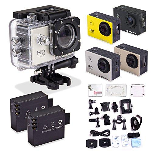 SAVFY® SJ4000 Fotocamera per Sport/ Videocamera Sportiva 1080P con LCD Schermo di 1,5 Indici 12MP, 170 Gradi Ampio Angolo+ Full HD Obiettivo Grandangolare X4 Zoom, Sott'acqua 30m, Waterproof Videocamera, Sports & Action Camera impermeabile ed accessoristica varia, Argento