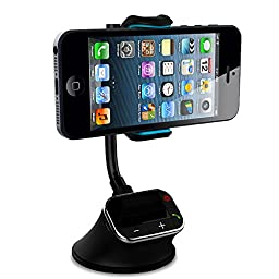 Carpanion Hands-free Calling in Car Kit FM Transmitter, Smart Phone Mount Holder Stand for iPhone, Samsung, HTC and almost all Smart Phones, FM Music Player, Dual USB Charging supported