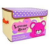 Evana 28 Liter Cute kids cartoon embroidery fabric velcro toy Teddy Bear Foldable storage box Wardrobe Organizer