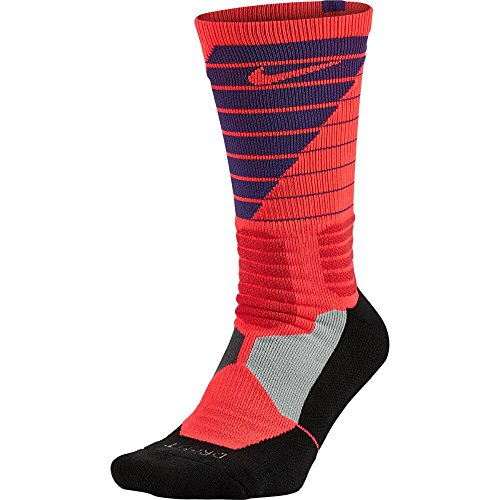 Nike Men's Hyper Elite Powerup Basketball Socks Medium (6-8) Crimson Purple (Customized Nike Elites compare prices)