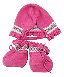 Polo Ralph Lauren Baby Girls Fair Isle Hat and Bootie Set, Equestrian Pink Heather, 3-6Mo
