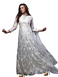 Blissta White Net Long Partywear Gown Dress Material