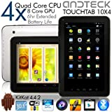 TouchTab 10.1 in Quad Core 16GB 4.4.2 KitKat Google Android Tablet PC Wifi HDMI Bluetooth [2014] (White 10.1-inch)