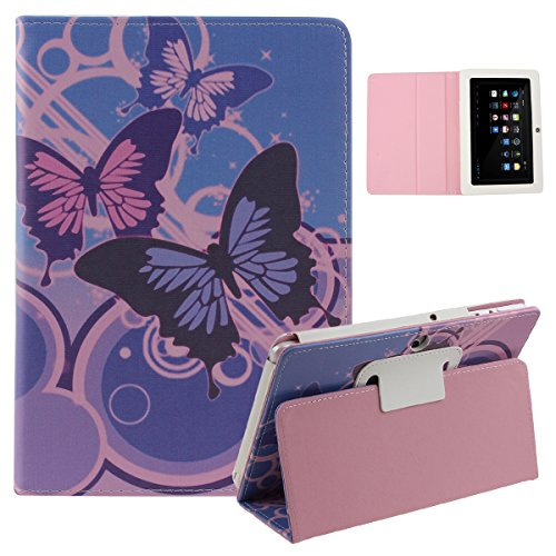 Q88 Happening,UZZO Kids Butterfly Flower Floral Eiffel Obelisk Pattern Slim 7 inch Pu Leather Go crazy Stand Protective Carrying Cover Containerize 7 Inch Android Tablet Cover Trunk for Contixo LA703 7 Tablet,7 Dragon Use A13 Q88,Y88,Zeepad 7.0,Afunta Q