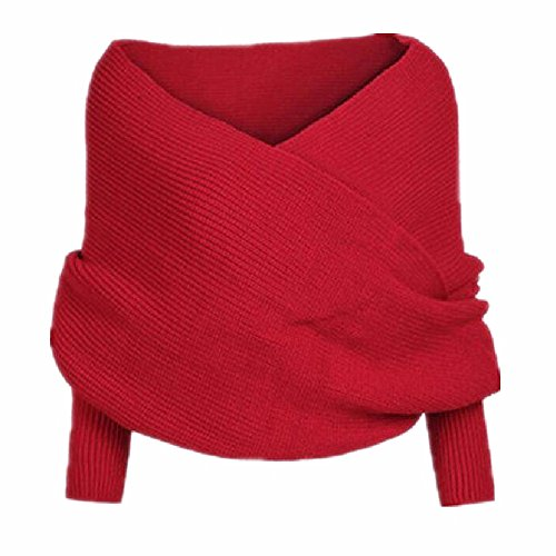 Bonaweite Women Classic Crochet Knitted Sweater Long Scarf Wrap with Sleeves Red
