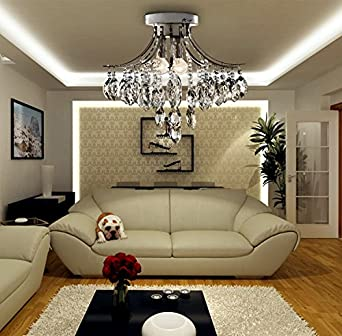 Oofay light contemporary minimalist 3 light crystal flush for B q living room lights