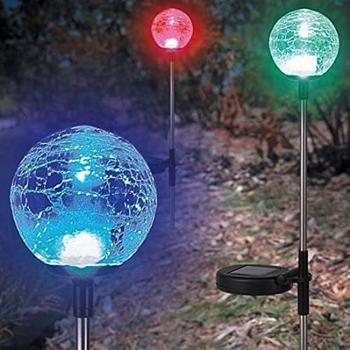 Solar Garden Stake Lights Crackle Glass Globe Ball Solar