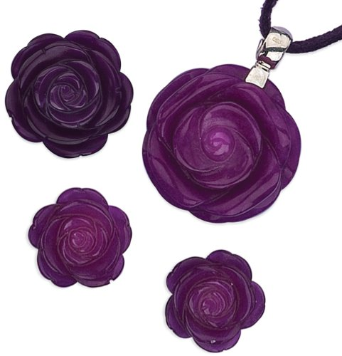 Elina H Sterling Silver Violet Flower Jewellery Set