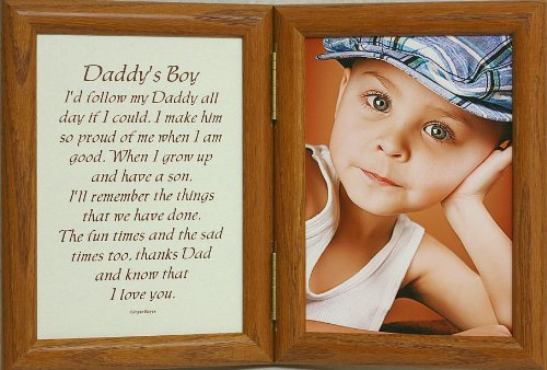 5X7 Hinged Daddy'S Boy Poem Oak Picture Photo Frame ~ A Wonderful Gift Idea For A New Father, Father'S Day, Valentines Day, Birthday Or Christmas Gift!