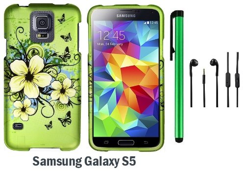 Samsung Galaxy S5 Premium Pretty Design Protector Hard Cover Case (2014 March Released; Carrier: Verizon, At&T, T-Mobile, Sprint) + 3.5Mm Stereo Earphones + 1 Of New Assorted Color Metal Stylus Touch Screen Pen (Apple Green Butterfly Flower)
