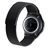 Cbin Samsung Galaxy Gear S2 Classic Smartwatch Band Stainless Steel Fully Magnetic Closure Milanese Bracelet SM-R7320 SM-R732- Black