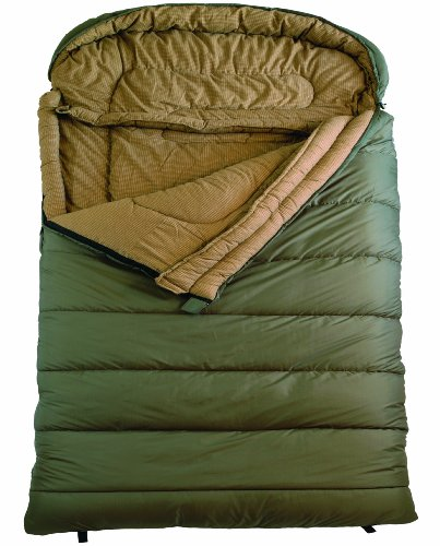 TETON Sports Mammoth Queen Size Flannel Lined Sleeping Bag (94″x 62″, Green, 0 Degree F)