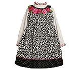 Bonnie Jean Girls Leopard Print Rose Flower Jumper Dress Set , Black / White , 5