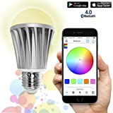 Flux™ Bluetooth Smart LED Light Bulb - Smartphone Controlled Dimmable Multicolored Color Changing Lights - Works with iPhone, iPad, Android Phone and Tablet