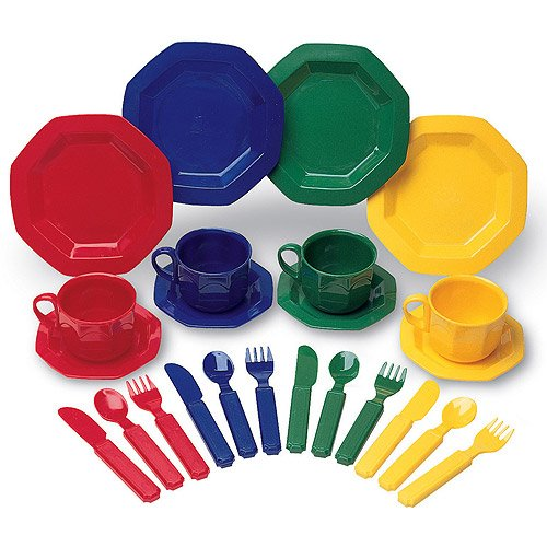 Kids Play Dish Set Includes 4 Plates, 4 Saucers, 4 Knives, 4 Spoons, 4 Forks