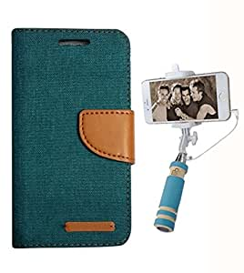 Aart Fancy Wallet Dairy Jeans Flip Case Cover for Apple4G (Green) + Mini Fashionable Selfie Stick Compatible for all Mobiles Phones By Aart Store