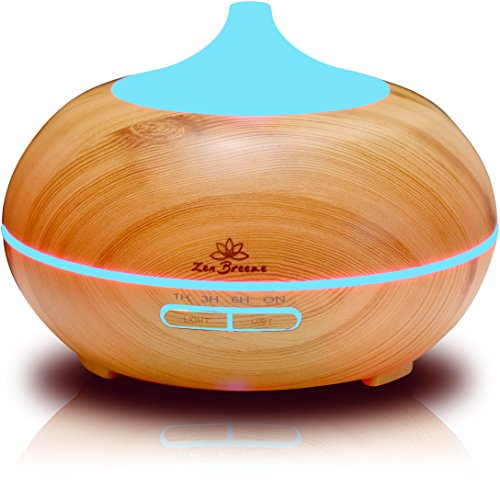 Zen Breeze, Essential Oil Diffuser, 2017 Model Aroma Humidifier, 14 Color Shades, Best Wood Grain, Ultrasonic Whisper Quiet Cool Mist Aromatherapy (Pine Tree Plug compare prices)
