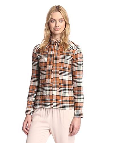 See by Chloé Women's Plaid Scarf Tie Shirt