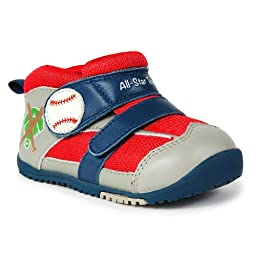 Momo Baby Boys First Walker/Toddler Home Run Gray Leather Sneaker Shoes - 5.5 M US Toddler