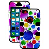 myLife (TM) Black + Colorful Bubbles 3 Layer (Hybrid Flex Gel) Grip Case for New Apple iPhone 5C Touch Phone (... by myLife Brand Products