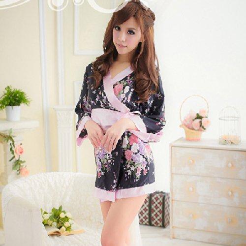 Museya Frauen Damen Kimono Stil Uniform Nachthemd Dessous Reizwäsche mit Bowknot Bund - freie Größe