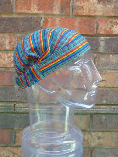 Inspirit Arts Small Turquoise Headband Expandable Handwoven Open Net Weave Lightweight Bandana Headwrap Elastic 100% Cotton Hair Scarf front-473967