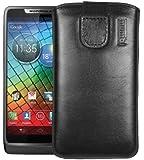 mumbi ECHT Ledertasche Motorola RAZR i Tasche (Lasche mit Rückzugfunktion) schwarz