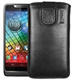 Mumbi Genuine Leather Sleeve with Flap for Motorola RAZR i Black