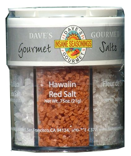 Daves Gourmet Exotic Salts Collection in Gift Shaker is a Great Way to Get Six Exotic Salts From Around the World.