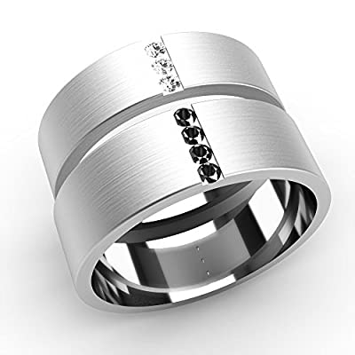 His and Hers Diamond Set Wedding Rings 9ct White Gold Flat Shaped Bands. His 6mm Width Band Set with 4 Black Diamonds. Her 5mm Width Band Set with 3 White Diamonds. Both Bands Have a Brushed Satin.