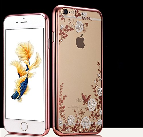 iPhone 6/6s Crystal TPU Cover-Aurora Fashion Transparent Hard PC + TPU Graden Flower Case with Original Swarovski Element for iPhone 6/6s 4.7 Inch(Rose Gold+White)