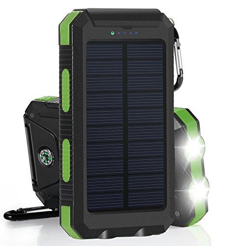 GRDE 10000mAh 大容量ソーラーチャージャー モバイルバッテリー 2USBポート 羅針盤が付き 防水設計 二つの充電方法 旅行、キャンプの良品 iPhone / iPad / iPod / Xperia / Galaxy / Nexus等対応 (緑&ブラック)
