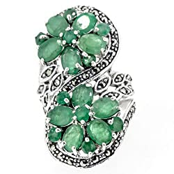 Rare Authentic Natural Emerald Double Floral Flower Ring 925 Silver Size 7 from Caratera Fine Jewelry