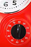 Visua Nia Retro Metal Kitchen Clock With Mechanical Timer And Temperature Gauge, Red