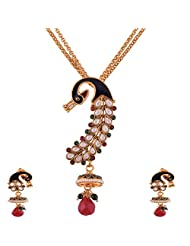 Ganapathy Gems 1 Gram Gold Plated Peacock Design Pandent Set With White CZ Stones And Golden Beads Chain - B00XJJ5BFS
