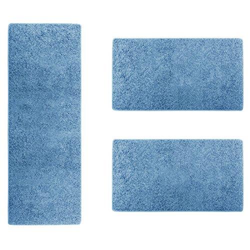 casa-pura-Shaggy-Bettumrandung-Sphinx-Lufer-Set-3-teilig-fr-Schlafzimmer-Hochflor-viele-Farben-whlbar-Blau
