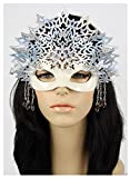 Handcrafted Leather Snow Queen Mask White
