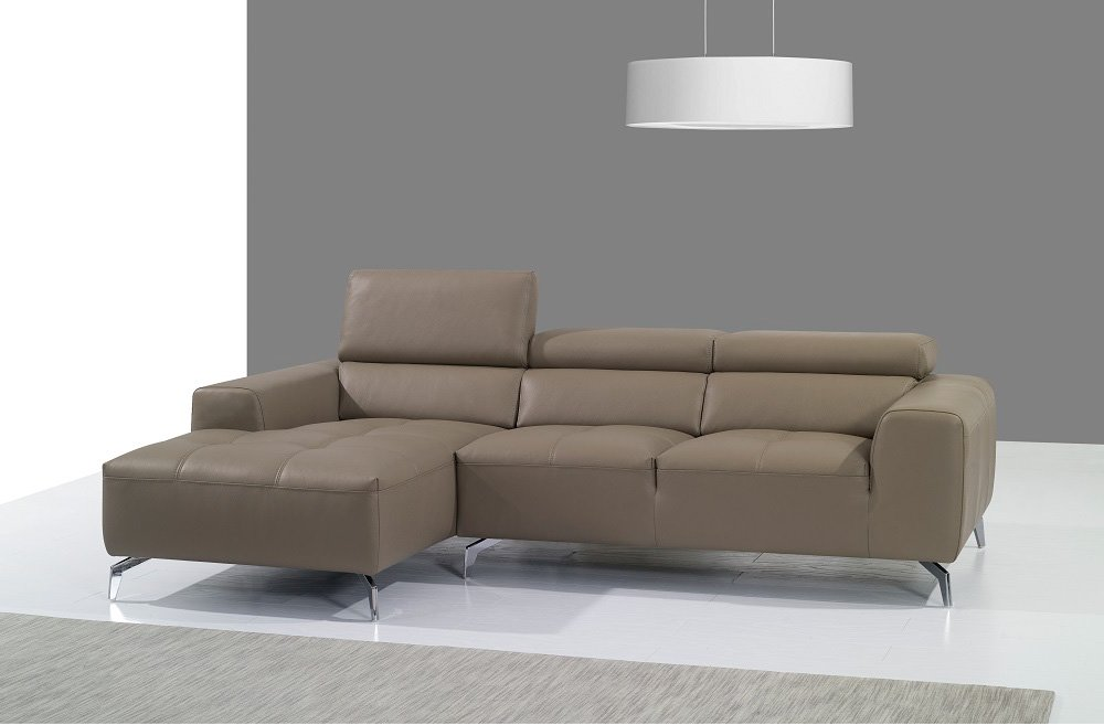 A978b Burlywood Premium Italian Leather Sectional Sofa with Left Chaise