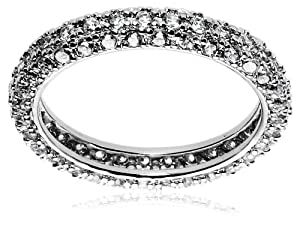 Sterling Silver Pave Simulated Diamond Ring, Size 8