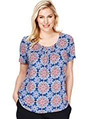 Plus 7 Pleat Kaleidoscope Print Top with Stay New&#8482;