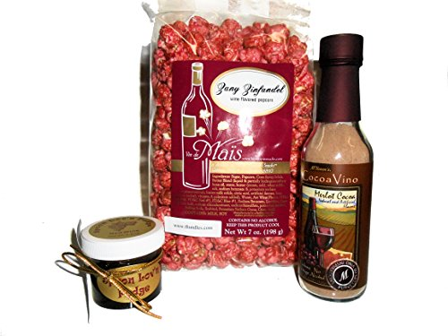 Wine Theme Gift Pack With Zinfandel Flavor Popcorn, Wine Cocoa Mix & Wine Flavored Fudge