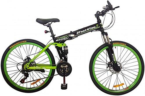 26' Zoll Fully Klapprad Mountainbike MTB Klappfahrrad Faltrad vollgefedert, Farben:schwarz-grün