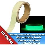 Fluoreszierendes Phosphor Klebeband Markierungsband Leuchtband Bühnenbedarf Glow in the Dark 25mm x 10 Meter