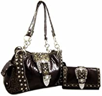 BlingDay Western Rhinestone Belt Buckle Stud Chain Patent Purse Wallet SET - Brown