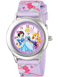 Disney Kids' W001226 Princess Stainless Steel Watch, Printed Strap, Analog Display, Analog Quartz, Multi-Color...