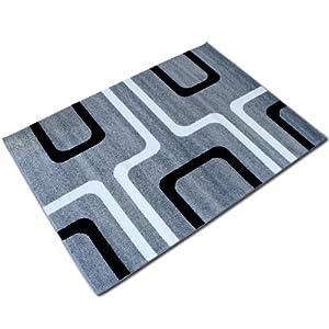 Tappeto moderno grigio e nero da interno 170x240 cm da for Tappeto nero moderno