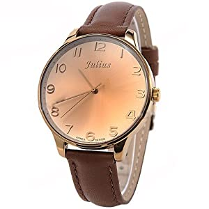 (JULIUS) Genuine Leather Band Quartz Watch Wrist Analog Watch Wristwatch with Big Round Case for Woman - Brown SWWT3-272151